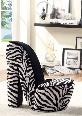 Heely Zebra Print Small Accent Chair