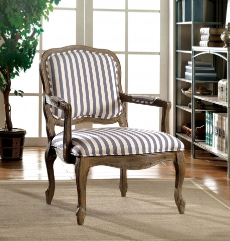 Baddock Dark Blue Stripe Accent Chair