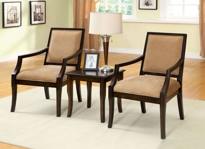 Boudry Espresso 3 Piece Accent Table & Chair Set