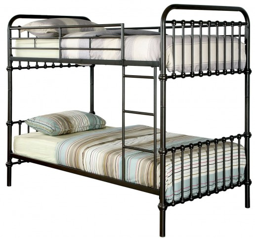 Oria Dark Bronze Twin Over Twin Bunk Bed