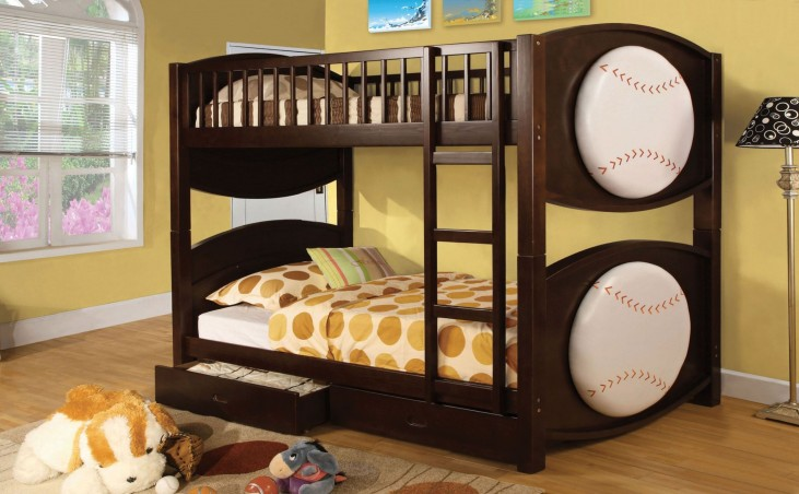 Olympic II Baseball Dark Walnut Twin Over Twin Bunk Bed