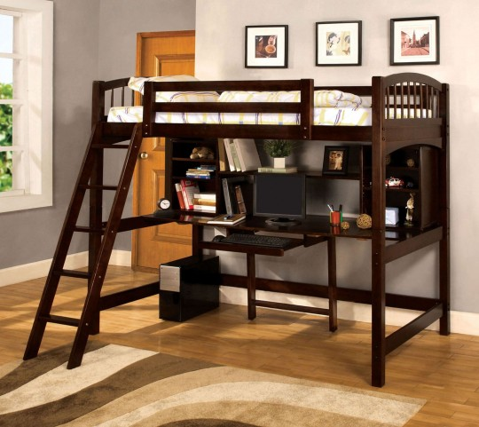 Dakota Ridge Dark Walnut Twin Loft Bed With Workstation