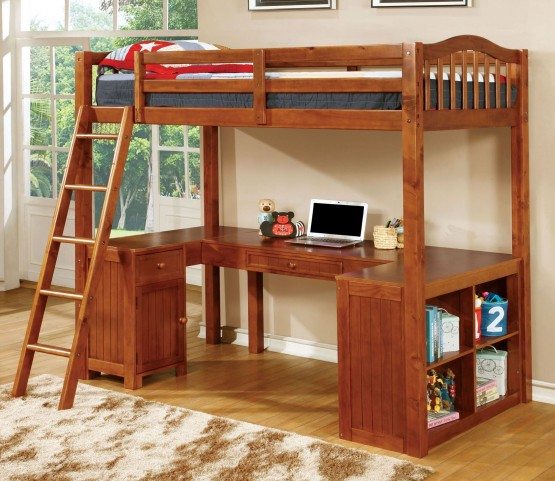 Dutton Oak Twin Loft Bed With Workstation