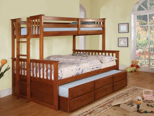 University I Oak Twin Over Full Bunk Bed