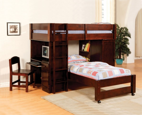 Harford Dark Cherry Twin Over Twin Loft Bed