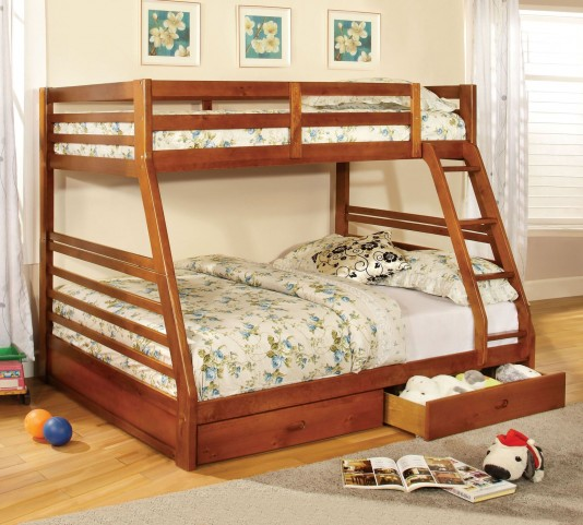 California III Oak 2 Drawer Twin Over Full Bunk Bed