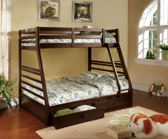 California III Dark Walnut 2 Drawer Twin Over Full Bunk Bed