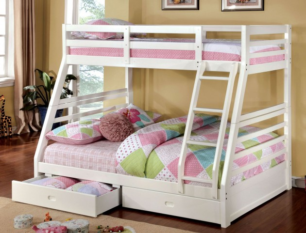 California III White 2 Drawer Twin Over Full Bunk Bed