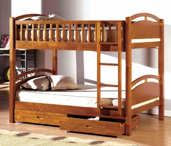California I Oak 2 Drawer Twin Over Twin Bunk Bed