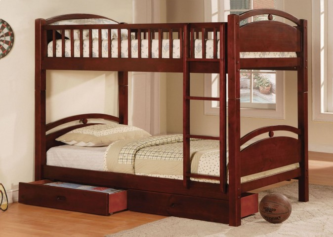 California I Cherry 2 Drawer Twin Over Twin Bunk Bed