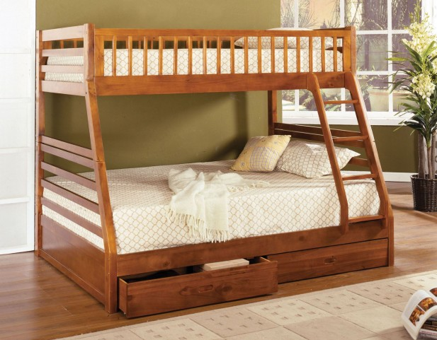 California II Oak 2 Drawer Twin Over Full Bunk Bed