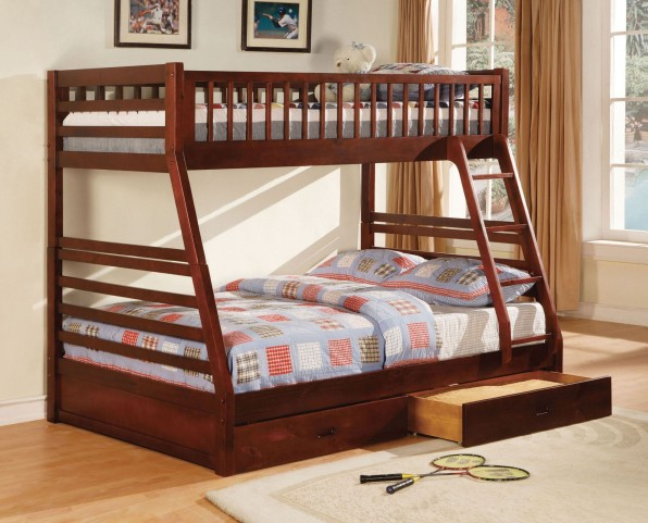 California II Cherry 2 Drawer Twin Over Full Bunk Bed