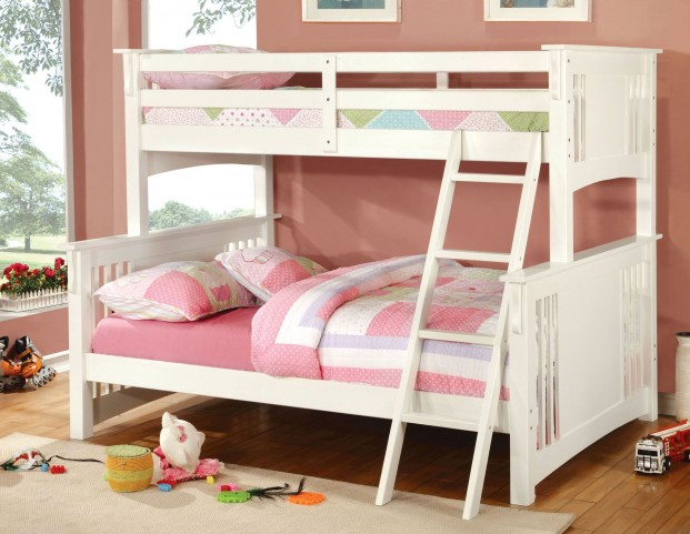 Spring Creek White Twin Over Full Bunk Bed