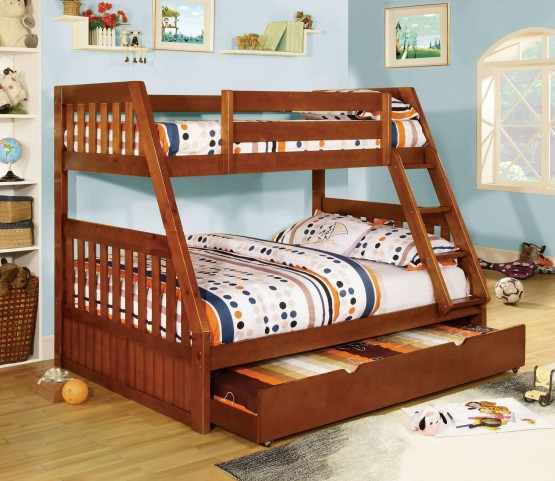 Canberra Oak Twin Over Full Bunk Bed