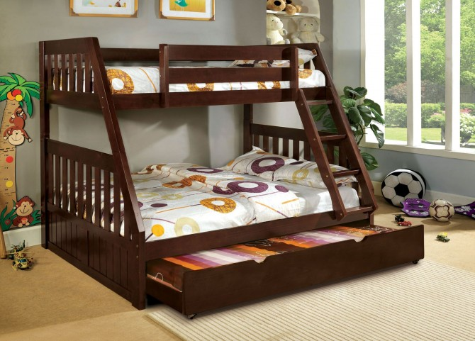 Canberra Dark Walnut Twin Over Full Bunk Bed