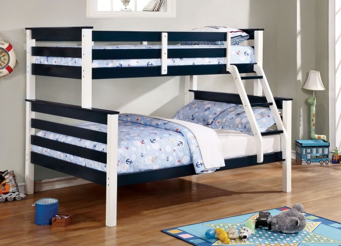 Lorren Blue and White Twin Over Full Bunk Bed