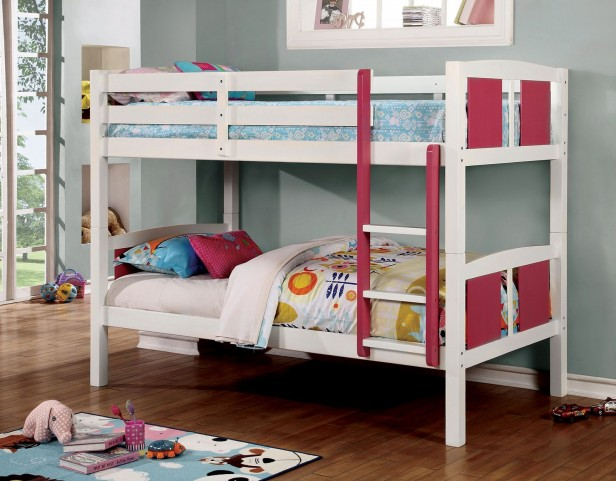 Corral Pink and White Full Over Full Bunk Bed