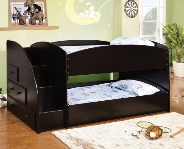 Merritt Black Twin Over Twin Bunk Bed