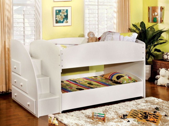 Merritt White Twin Over Twin Bunk Bed