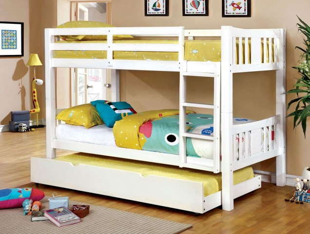 Cameron White Blue Twin Over Twin Bunk Bed