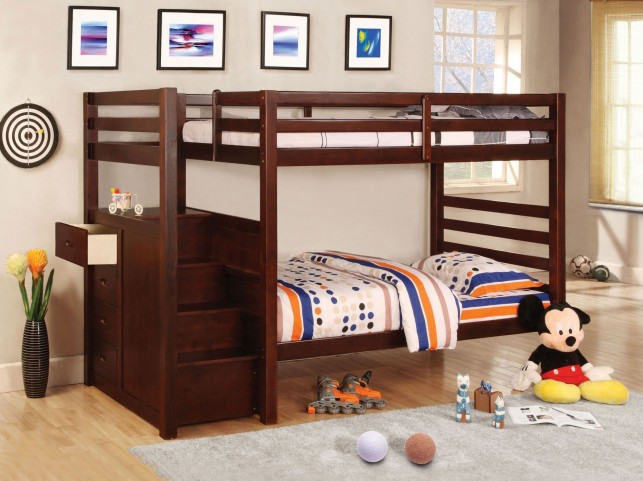 Pine Ridge Drawer Dark Walnut Twin Over Twin Bunk Bed