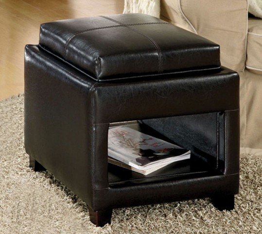 Elya Open Shelf Tray Top Ottoman