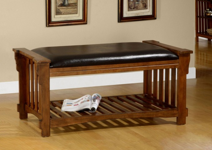 Salford Antique Oak Leatherette Bench