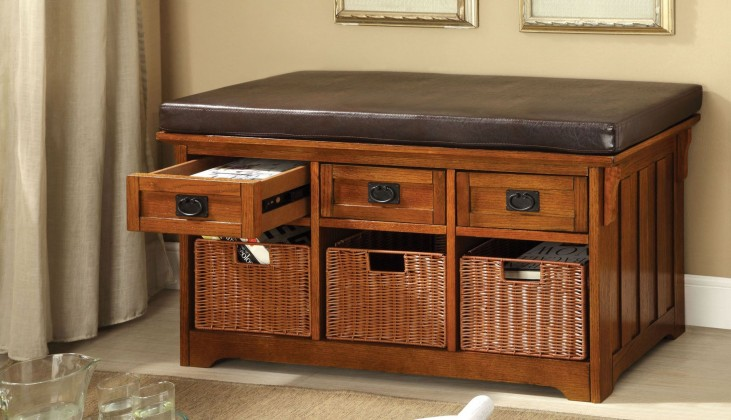 "Hobart 42"" Baskets & 3 Drawers Storage Bench"