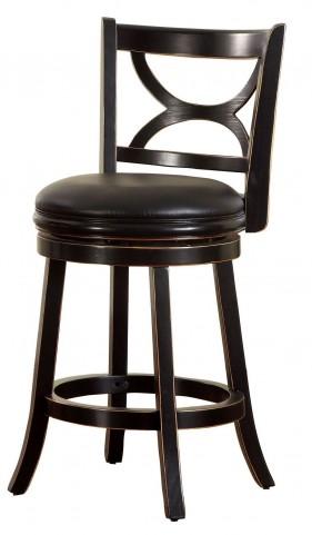 "Warden 24"" Antique Black Swivel Bar Stool"
