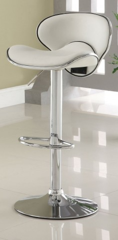 Kossi White Leatherette Bar Stool