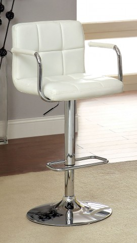 Corfu White Leatherette Bar Stool