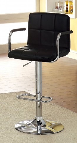 Corfu Black Leatherette Padded Armrests Bar Stool