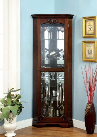 Ortley Walnut Curio Cabinet