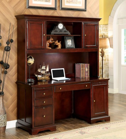 Desmont Cherry Credenza Desk with Hutch