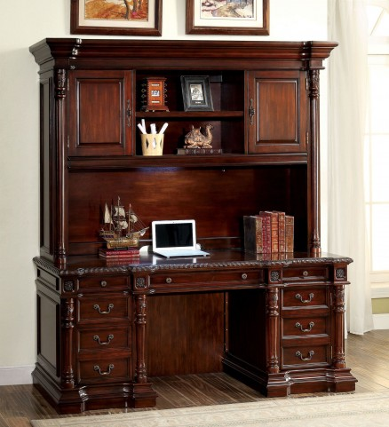 Roosevelt Cherry Credenza Desk with Hutch