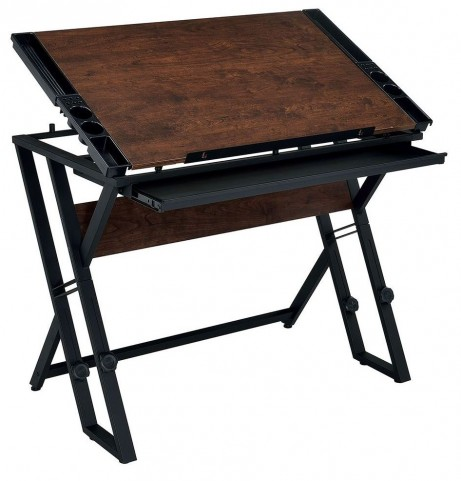 Loran Espresso and Black Height Adjustable Drawing Desk