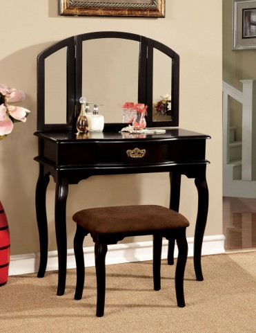 Winnette Black Vanity Set With Stool