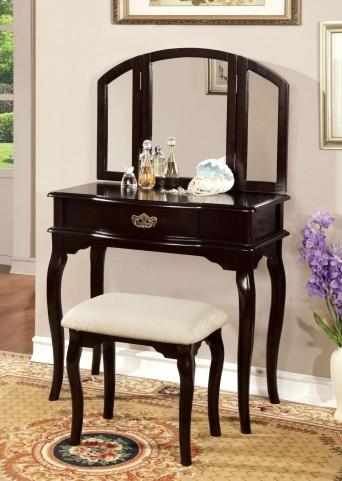 Winnette Espresso Vanity Set With Stool