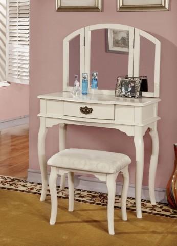Winnette White Vanity Set With Stool