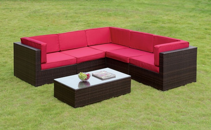 Zendaya Red and Espresso Patio Sectional With Red Coffee Table