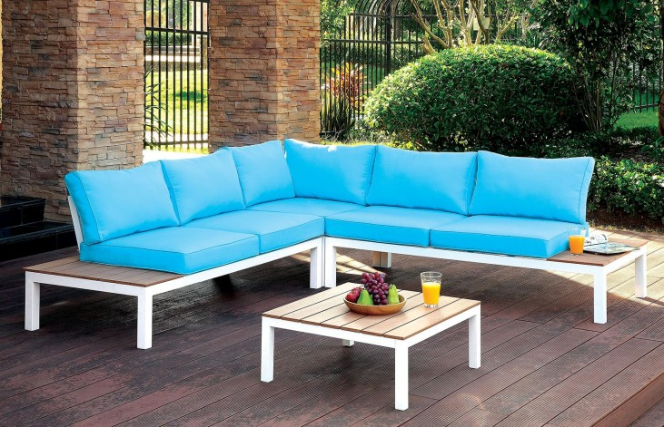 Winona Blue and White Patio Sectional With Ottoman