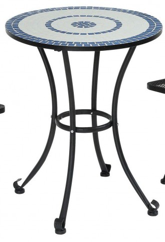 Aster Blue and Black Mosaic Top Metal Table