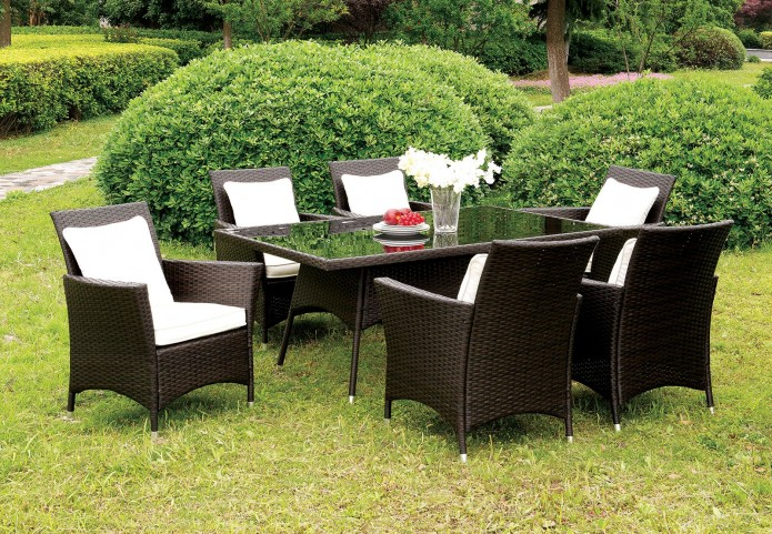 Leodore Espresso Patio Dining Room Set