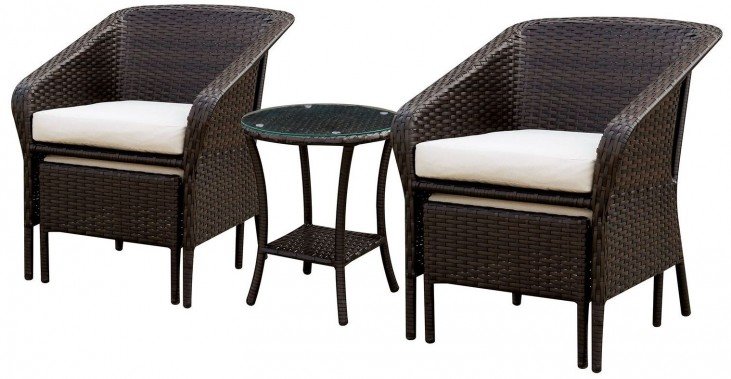 Malinda Espresso 3 Piece Patio Chair Set