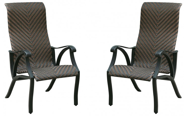 Chiara I Brown and Dark Gray Wicker Arm Chair Set Of 2