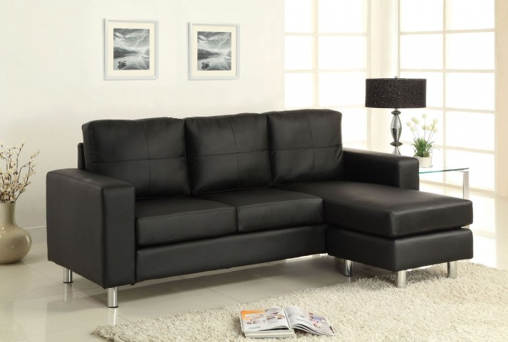 Avon Black Leatherette Sectional