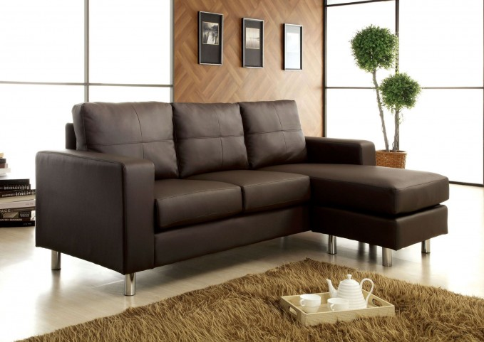 Avon Dark Brown Leatherette Sectional