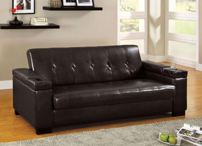 Logan Leatherette Futon Storage Sofa