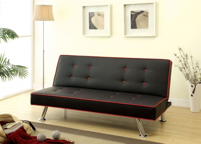 Verdis Red & Black Sofa Chair With Extra Leg
