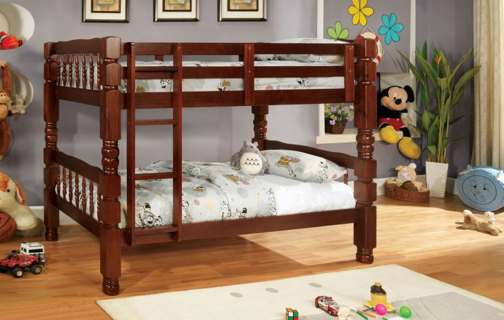 Carolina Cherry Twin Over Twin Bunk Bed